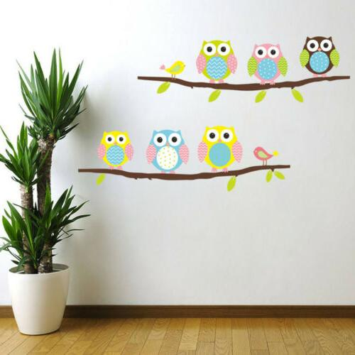 Removable Cartoon Owl Tree Wall Stickers Animal Decals for K