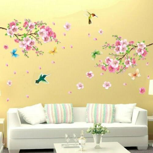 Pink Flower Tree Wall Decal Decor US