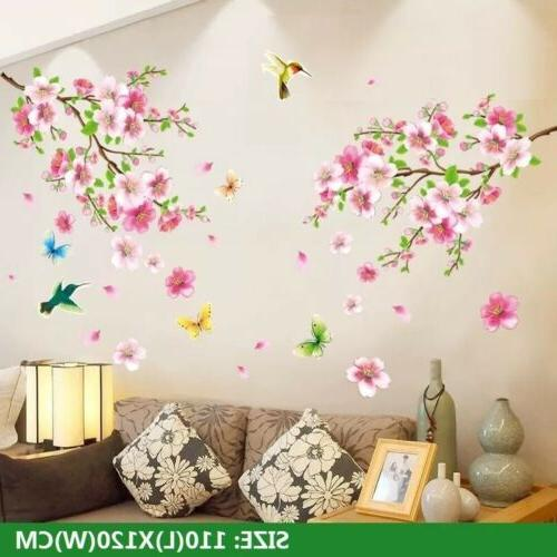 Cherry Wall Pink Flower Tree Wall Decal For Home Decor US