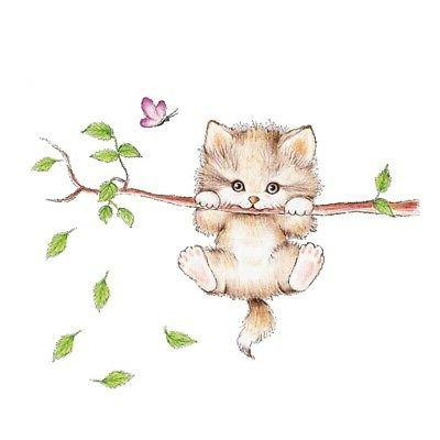 cute cat butterfly tree branch wall stickers for kids rooms