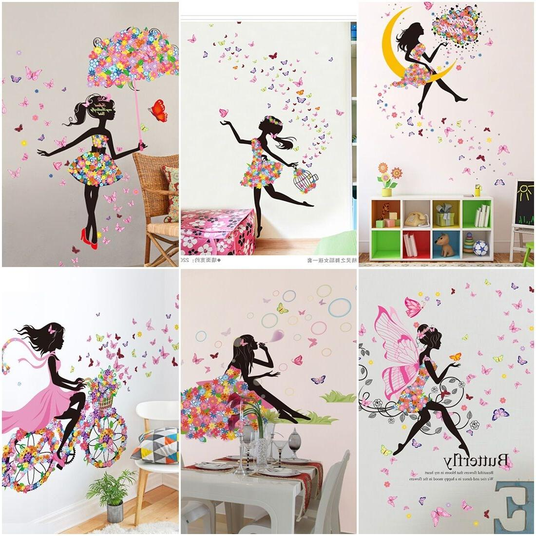cute diy lovely girl art wall stickers