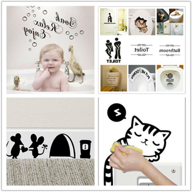Funny Toilet Stickers Removable Vinyl Decal for Decor