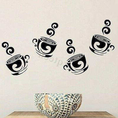 Removable Coffee Tea Wall Stickers Art For Home Kitchen Decor