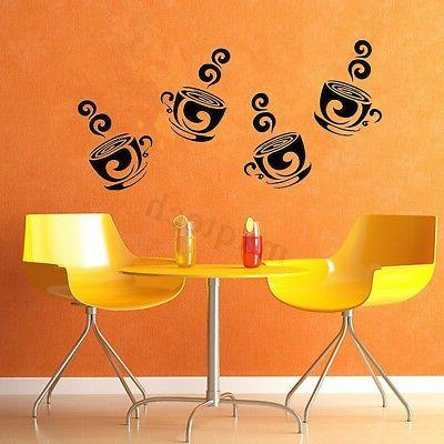 Removable Coffee Cups Wall Stickers For Kitchen Cafe Decor