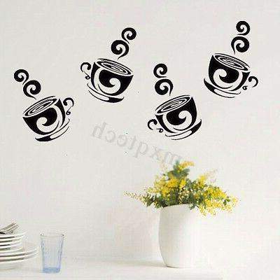 removable coffee tea cups wall stickers art
