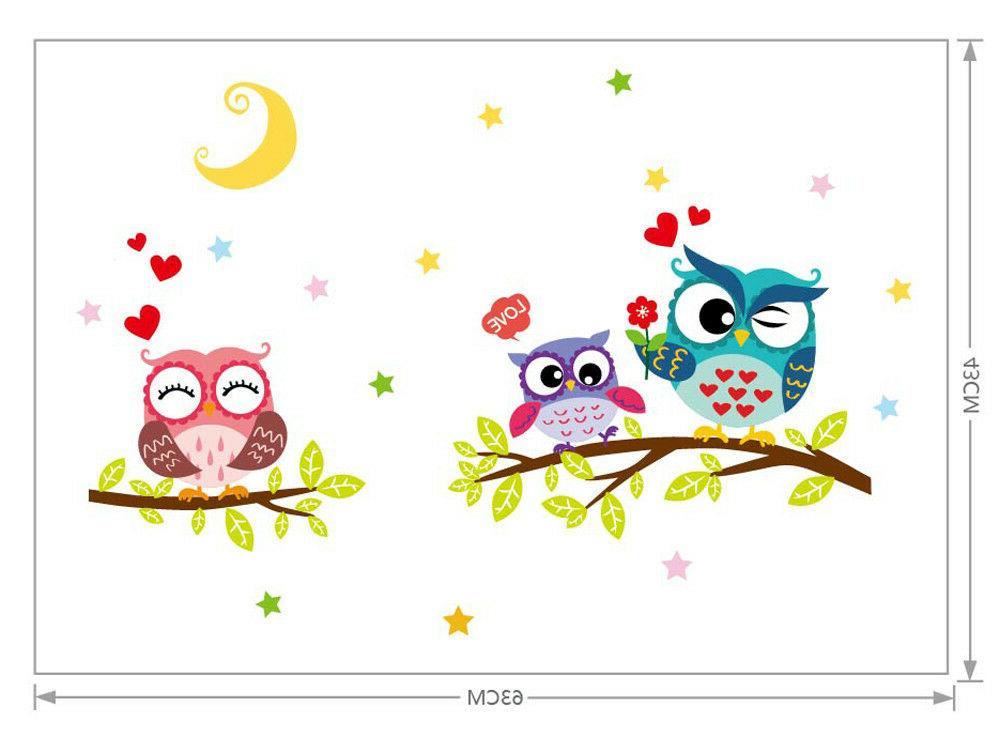 Removable Waterproof Cartoon Animal Owl Sticker For Kids Rooms