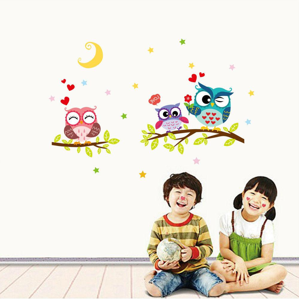 Removable Cartoon Owl Sticker Kids Rooms