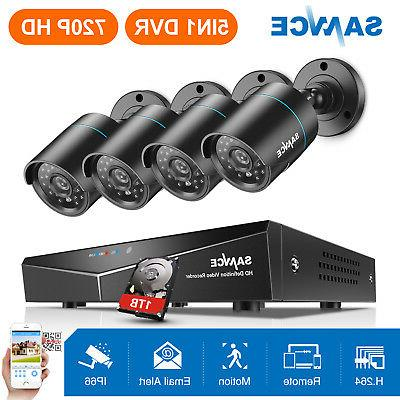 SANNCE HD 1080N 8CH 5in1 DVR 1500TVL Outdoor IR Home Securit