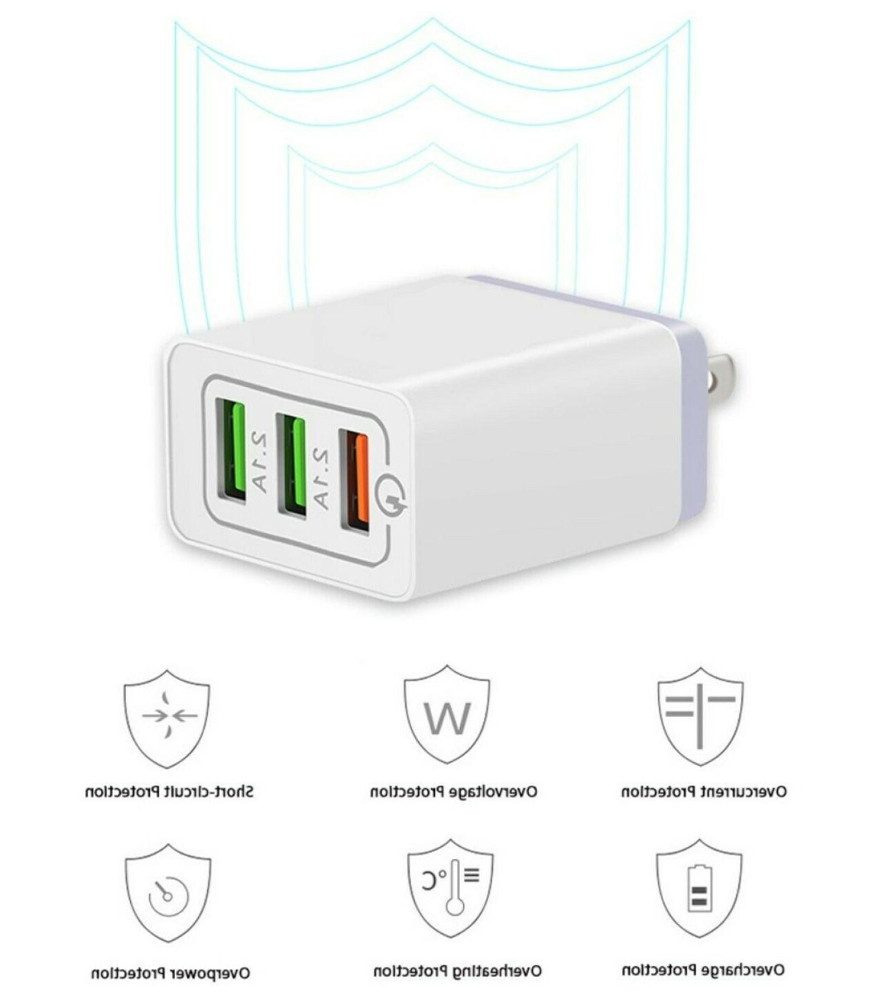 3 Home Wall Fast Charger 3.0 Cell iPhone Samsung