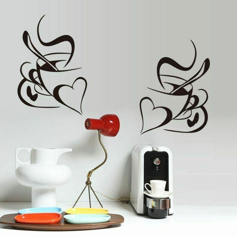 Wall Kitchen Restaurant Coffee Vinyl Decal Cafe Cup Stickers
