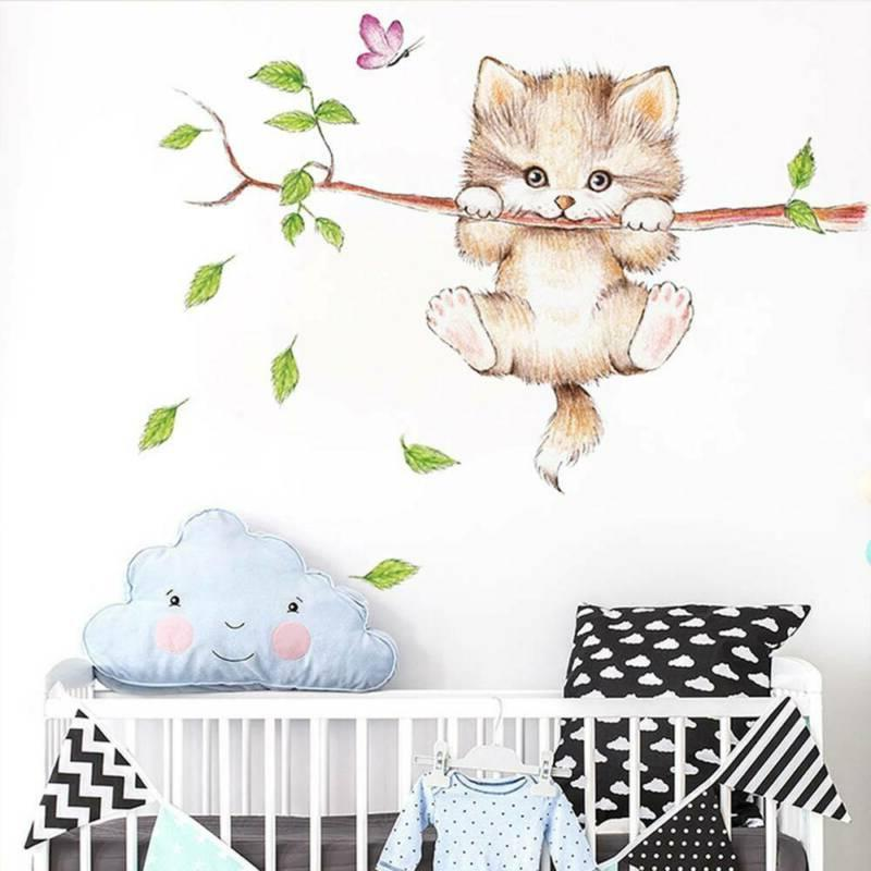 wall rooms home decoration Cute cat butterfly tree branch