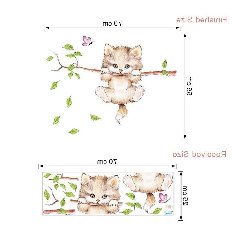 wall for rooms home decoration Cute cat butterfly