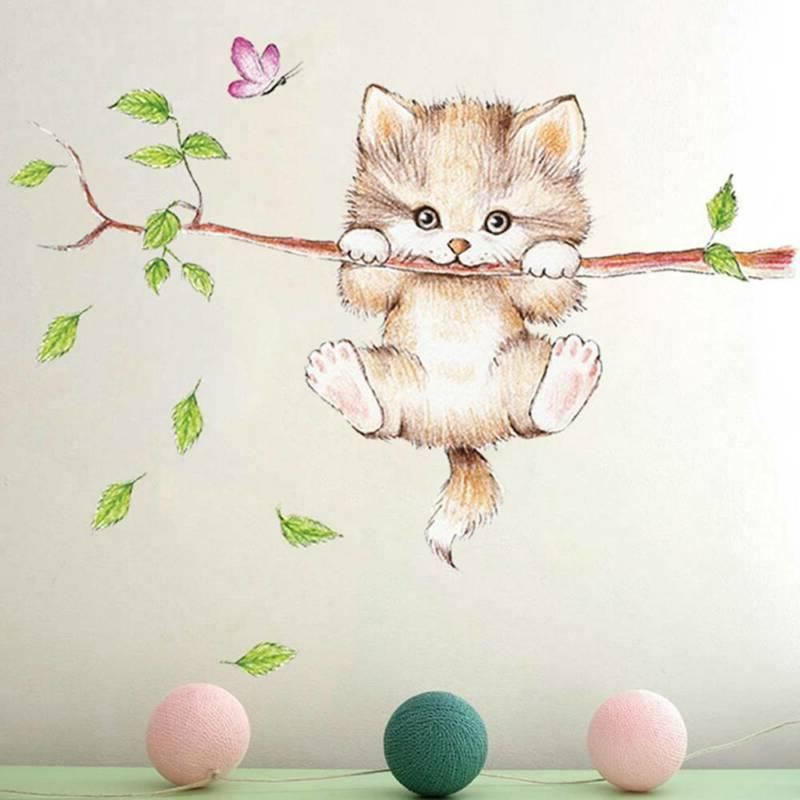 wall rooms cat butterfly tree