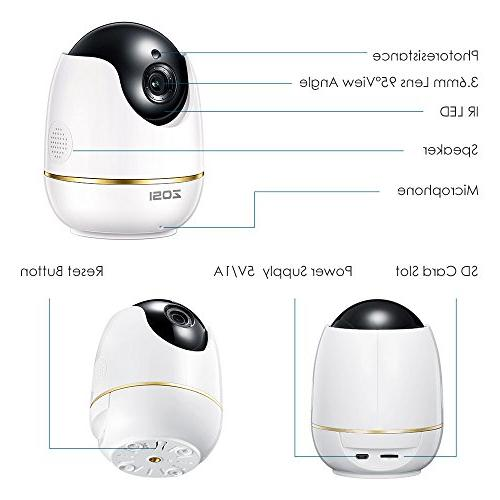 ZOSI Wireless Camera Home, Camera Baby Monitor with Camera PTZ Indoor,Two-Way Audio &