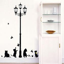 Large Black Cats Street Lamp Home Decor Wall Stickers for Be