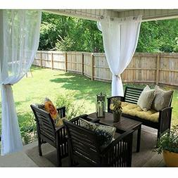 RYB HOME Outdoor Indoor Sheer Curtain Drape for Patio Outdoo