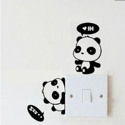 Removable Cute Cat Switch Sticker Black Art Decal Wall Poste
