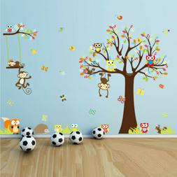 Cartoon Owl Tree Wall Sticker Jungle Monkey Vinyl Decals Kid