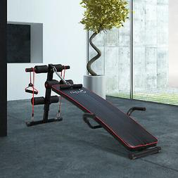 Sit Up Bench Core Workout for Home Gym Black