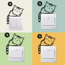 Stickers Switch Wall Home Decal Cat Sleeping Cute Diy Funny