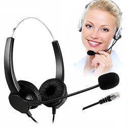 TelPal Coreded Call Center Binaural Headset Noise Cancelling