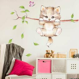Cute Cat Butterfly Tree Branch Wall Stickers for Kids Room H