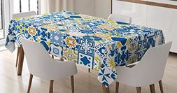 Yellow and Blue Tablecloth by Ambesonne, Mosaic Portuguese A
